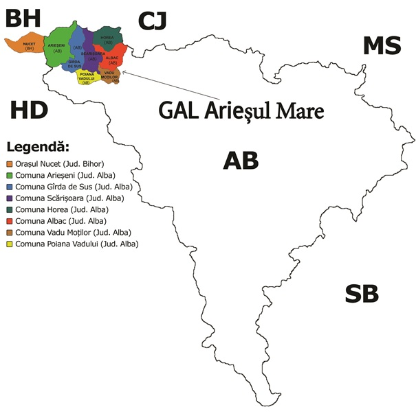 Harta Administrativa GAL Ariesul Mare