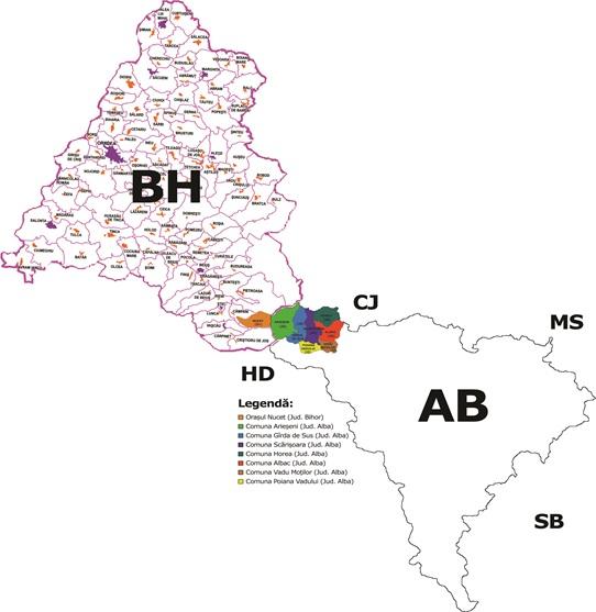Harta Incadrare in Judete GAL Ariesul Mare