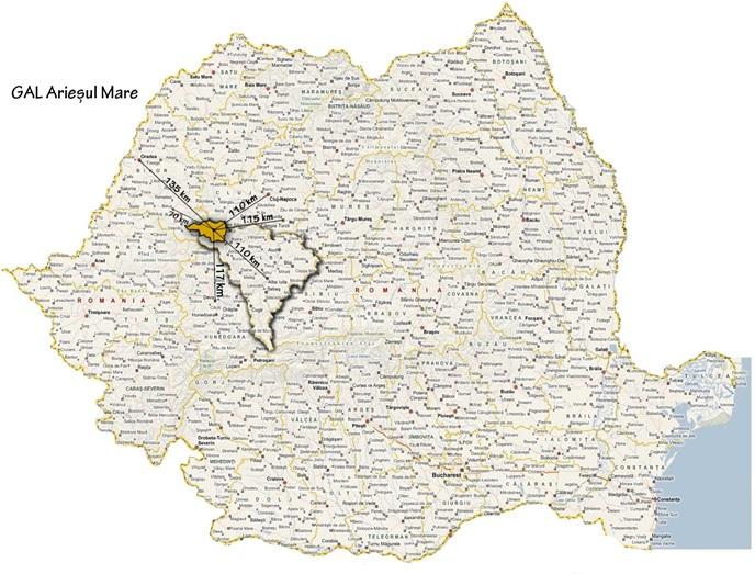 Harta localizare GAL Ariesul Mare